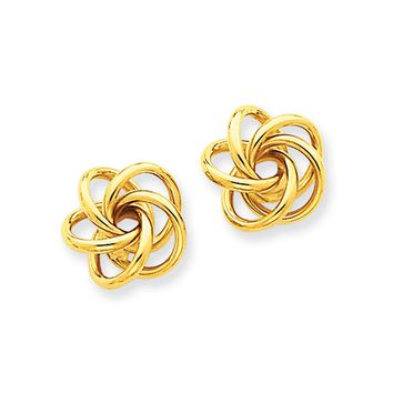 10mm Polished Love Knot Post Earrings in 14k Yellow Gold