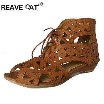 Fashion Cutouts Lace Up Women Sandals Open Toe Low Wedges Bohemian Summer Shoes