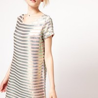 French Connection Metallic Stripe Shift Dress at asos.com