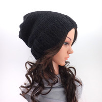 Knitted Lightweight Slouchy Hat /BLACK/, Unisex Knit Slouchy Beanie, Toque, Gift Idea