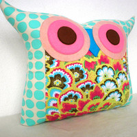 NEW/ Polyfil Stuffed Soul Blossoms(Aqua) Owl Pillow