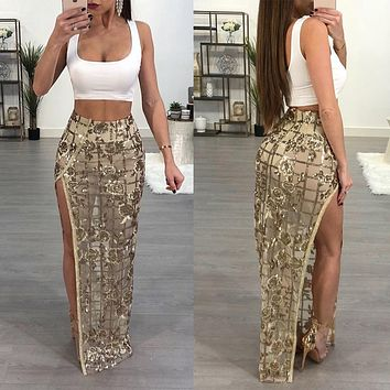 Adogirl Women Long Maxi Skirts Flower Sequined High Slit Maxi Night Club Wear Women High Waist Skirts Saia Femininas