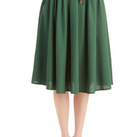 ModCloth Vintage Inspired Long Full Breathtaking Tiger Lilies Skirt in Stem Green