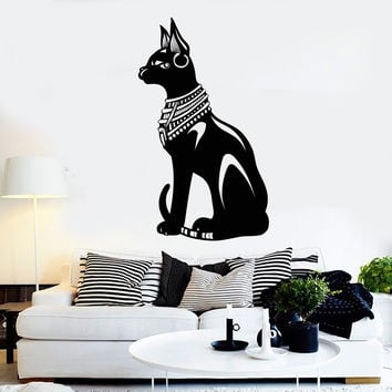 Vinyl Wall Decal Egyptian Cat Bastet Ancient Egypt Stickers Mural Unique Gift (ig4622)