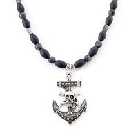 Mens Beaded Necklace, Large Anchor Charm, Crossbones Skull Charm, Dad Jewelry