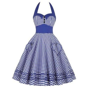 Checks Slim Dress Sexy Backless Halt Bubble Skirt  blue