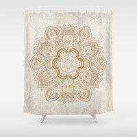 Mandala Temptation in Cream Shower Curtain by Lena Photo Art