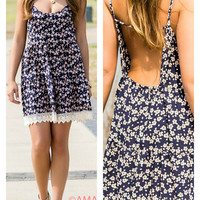 Let's Have Fun Navy Coral And Cream Floral Print Lace Hem Open Back Spaghetti Strap Sundress