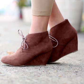 The Sally Wedge Bootie {Chestnut}