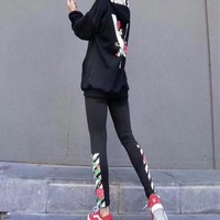 """OFF-WHITE"" Women Casual Flower Letter Print Hooded Long Sleeve Sweater Leggings Set Two-Piece Sportswear"