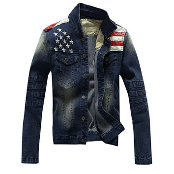 2016 New USA Design Mens Jeans Jackets American Army Style Man's Jeans Clothing Denim Jacket for Men Plus Size XXXL