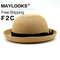 Maylooks New Fedoras Sun Hats For Men Or Women  Summer Straw Hats Beach Picnic Outing Party Twelve Color Optional HN28