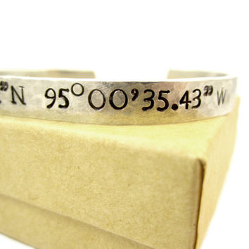 GPS Coordinates bracelets, longitude and latitude cuff bracelets, personalized vacation gifts, gifts for bridal parties, location reminders