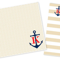 Initial Anchor Notepad Set, Beige/Navy, Notepads