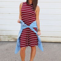 Iconic Swing Dress {Maroon + White}
