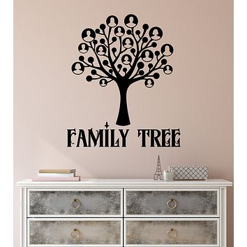 Vinyl Wall Decal Family Tree Word Logo Home Interior Stickers (3357ig)