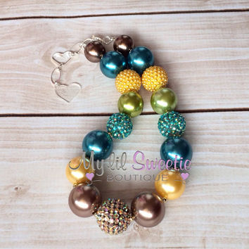 Yellow,teal, brown  chunky necklace, girls jewelry, children's necklace, bubblegum jewelry, bubblegum necklace