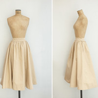 1950s Skirt - Vintage 50s Beige Cotton Skirt - Edith Skirt