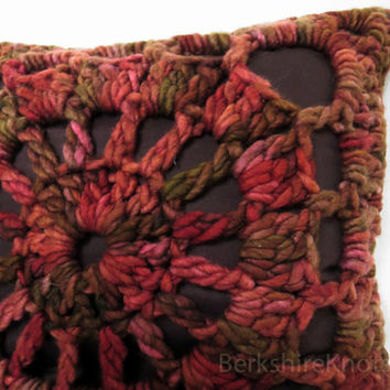 Decorative crochet pillow cover. Merino wool. Down insert and cotton lining.  Granny square. Oxido rose brown.