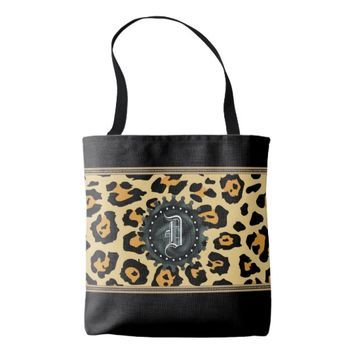 Leopard Initial Monogram Black Trim Tote Bag