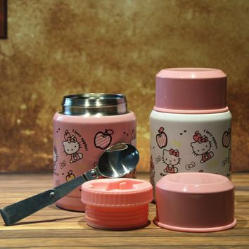 Lovely Style Hello Kitty Lunch Box Children Porridge Bucket Student  Portable Vacuum Cup  Healthy  Living Daily Lunch Tools