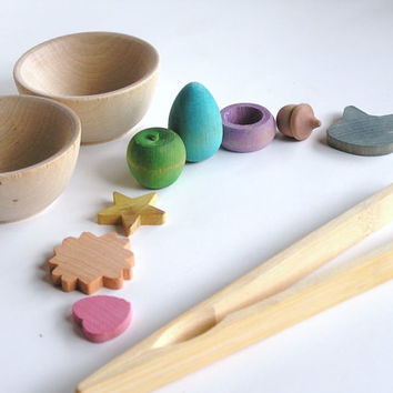 Natural Wood Learning Toy- TEACH ME System- Montessori Waldorf Word and Transfering Game