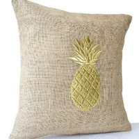 "Amore Beaute Natural Burlap Pillowcase with Pineapple Embroidered in Gold Thread - Handmade Fruit Pillow Cover - Modern Decor Chair Pillowcover - Decorative Pillow Cover (20""x20"")"