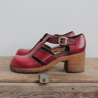 Vintage 70s Red Leather Heeled Mary Janes | womens 7.5 narrow