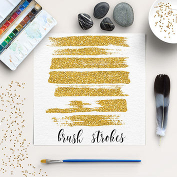 Glitter Brush Strokes Clip Art | Gold Glitter Strokes | Gold Glitter Digital Clipart | Goldy Splotches Overlay | BUY5FOR8