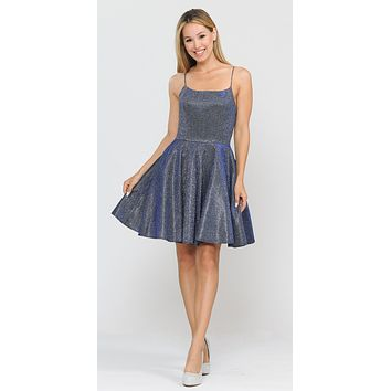 Royal Blue Shimmering Homecoming Short Dress with Pockets