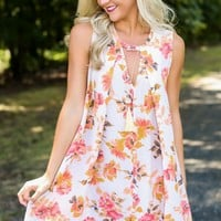 Cherished By Many Peach Floral Print Dress