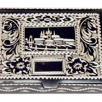 Beautiful Small Vintage Metal Pocket Cigarette Box Case