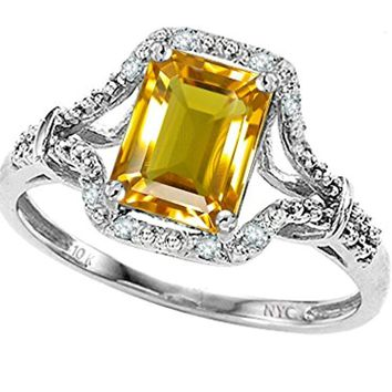 CERTIFIED 1.20 ctw 10k White Gold Vintage Look Emerald Cut Engagement Promise Ring