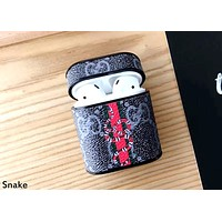 GUCCI tide brand leather airpods1 Bluetooth headset hard shell holster