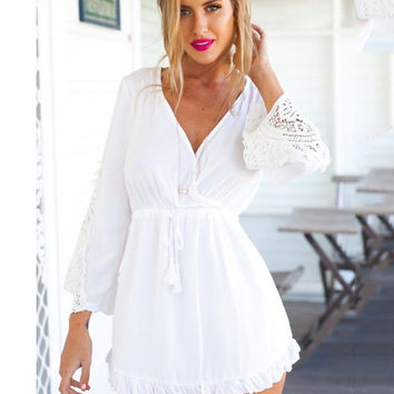 White Deep V-Neck Long Sleeve with Lace Accent and Tassel Tie Ruffled Mini Dress