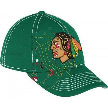 Reebok Chicago Blackhawks St.Pat's Green Draft Stretch Fit Hat