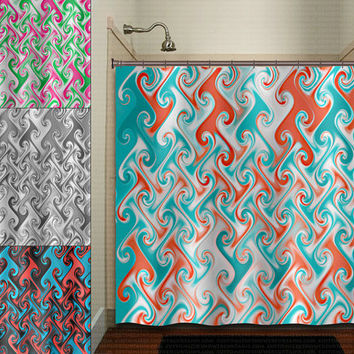 metallic style aqua blue red coral chevron shower curtain bathroom decor fabric kids bath white black custom duvet cover rug mat window
