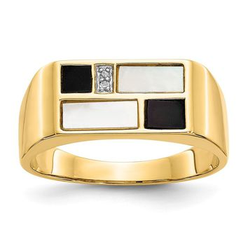 14K Yellow Gold Onyx, Mother of Pearl & A Quality Diamond Mens Ring