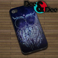 Dreamcatcher Owl Galaxy for iPhone 4/4S, 5/5S, 5C - Samsung Galaxy S3, S4 Rubber Case and Plastic Case
