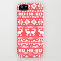 Red Ho Ho Ho Moose Ugly Holiday Sweater Pattern iPhone & iPod Case by RexLambo