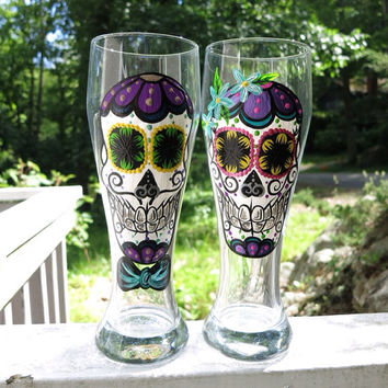 Hand painted 23oz sugar skull beer glass couple set