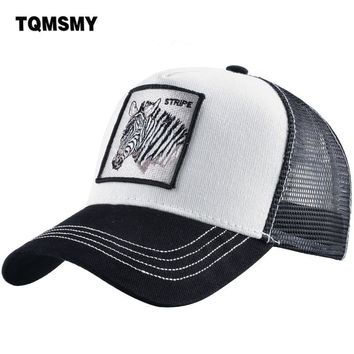 Trendy Winter Jacket TQMSMY Zebra Men's Trucker Caps Unisex men summer Baseball Caps Women Breathable Mesh Snapback Hip Hop Hats bone TMDHBM AT_92_12