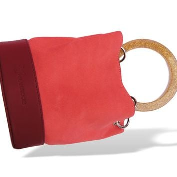 Red Pink Bracelet Handle Bucket Bag For Women
