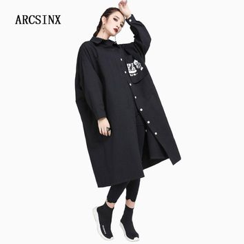 ARCSINX  Oversize Shirt Dress Women Large Size 8XL 7XL 6XL 5XL 4XL 3XL Black White Women's Dresses Big Sleeve 2018 Spring Autumn