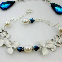Bermuda Blue Orchid Bracelet Pearls Sterling Silver Wedding Jewe - Wedding Jewelry | Bridesmaid