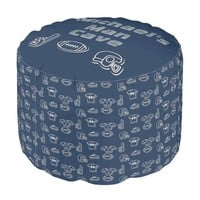Man Cave Football Sports Team Personalized Blue Pouf