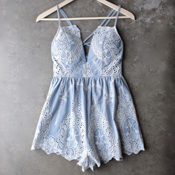 lace one piece embellished embroidered denim romper