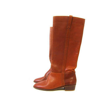 Vintage Brown Leather Boots 1980s Tall Light Brown Boots Leather Fall Boho Hipster Cowgirl Equestrian Riding Boots Womens size 6