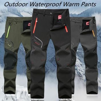 Men's Winter Fleece Hiking Pants Camping Trekking Skiing Softshell Trouser