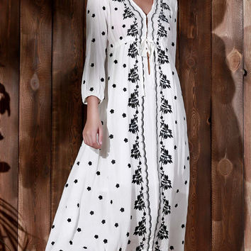 Plunging Neck 3/4 Sleeve Embroidered Midi Dress